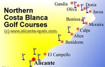 Kaart Golfbanen Costa Blanca Noord